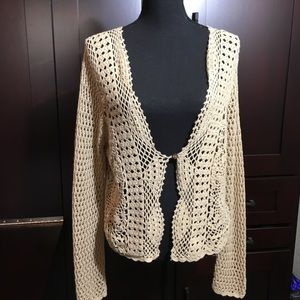 Vintage Open-Weave Cardigan from A.N.A.- Large/Tan